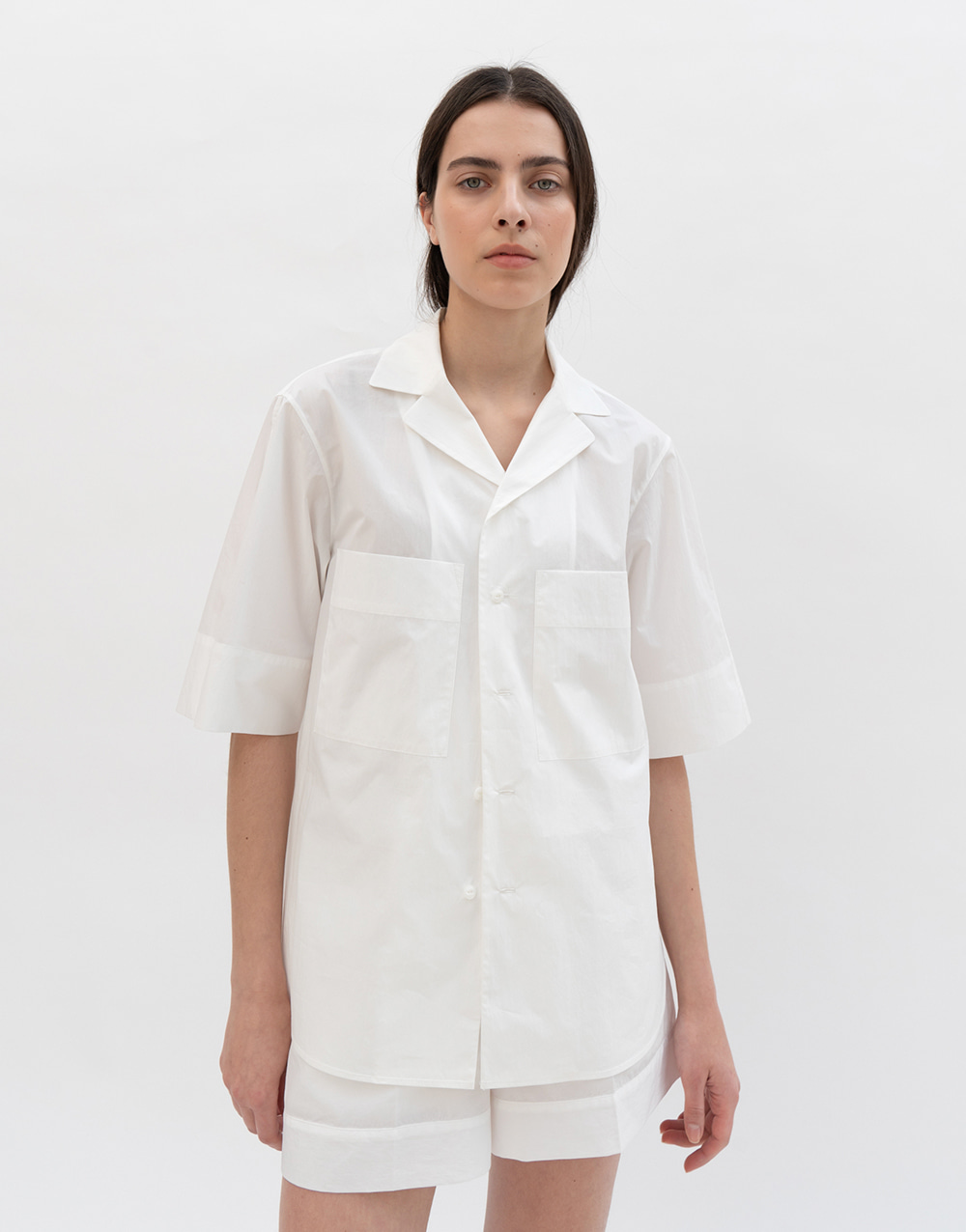 GBH APPAREL ADULT  Open Collar Shirts WHITE