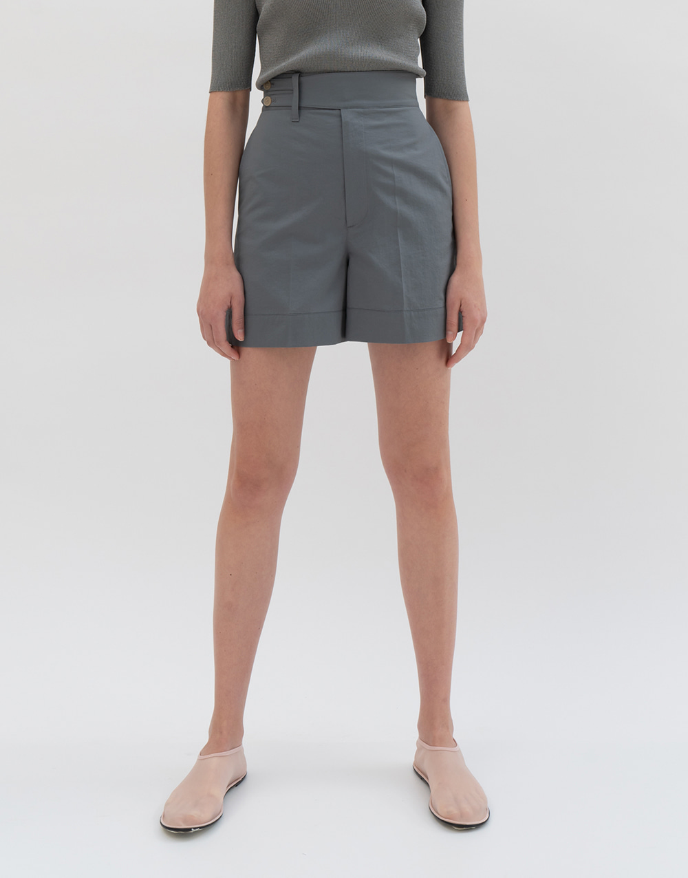 GBH APPAREL ADULT Belted High-waist Shorts GRAY