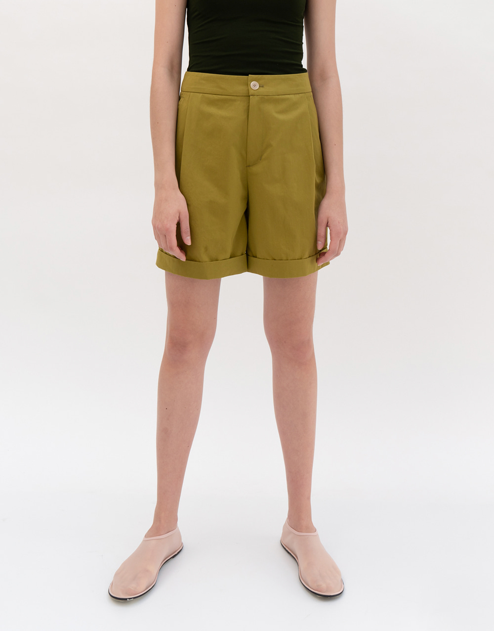 GBH APPAREL ADULT  Side Pintuck Half Pants OLIVE GREEN