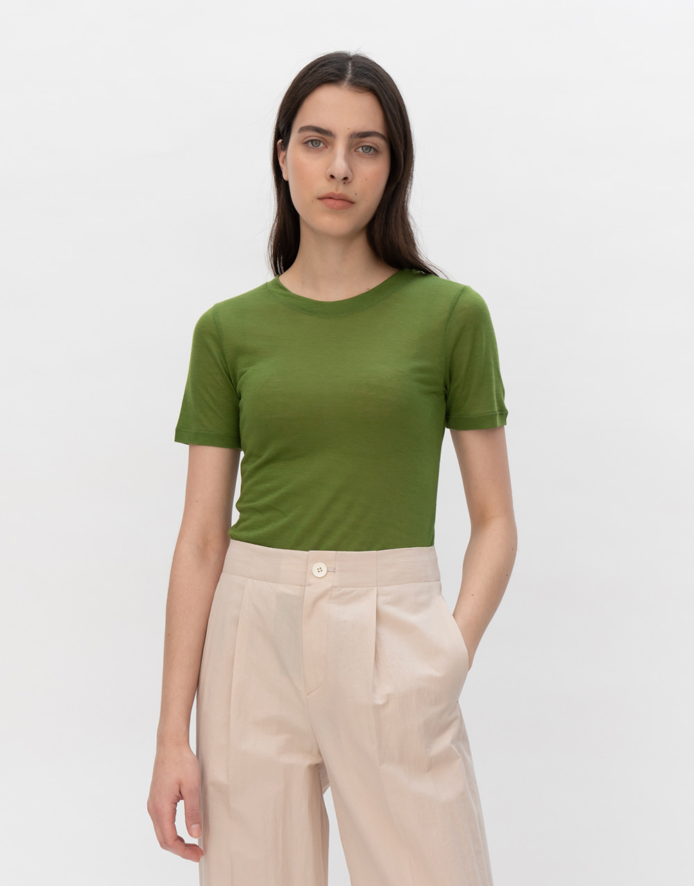 GBH APPAREL ADULT  See-through Stretch Top  FOREST GREEN