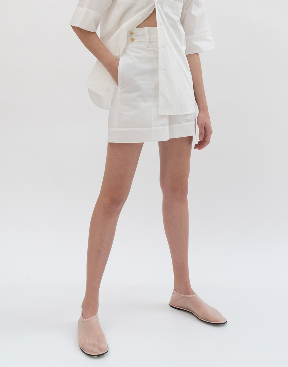 GBH APPAREL ADULT Belted High-waist Shorts WHITE